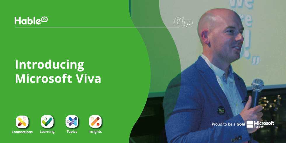 Photo of Sean O'Shea with words 'Introducing Microsoft Viva'
