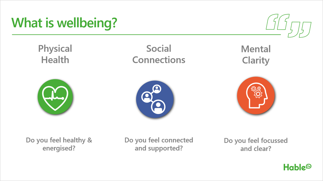 graphic looking at 'what is wellbeing'