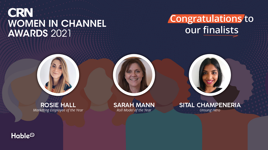 """Headshots of three of our winners in front of a CRN Women in Channel graphic. """"Congraulations to our finalists"""" written in the top right hand corner."""